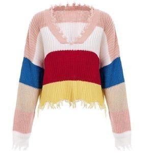 Zaful cropped V-Neck Rainbow Sweater